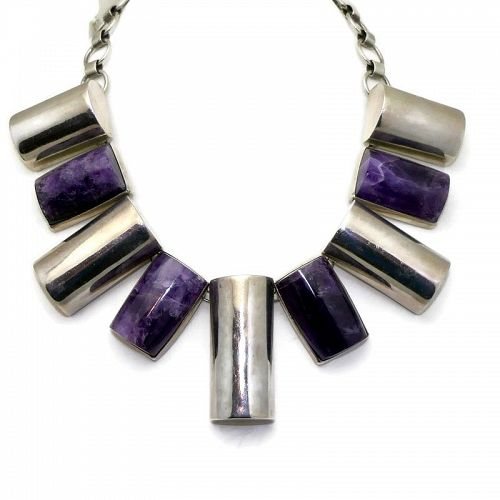 Monumental Ingrid's Silver Mexican Modernist Amethyst Necklace