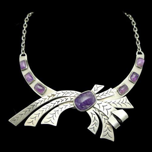 La Joya Mexican Amethyst 980 Silver Pectoral Necklace