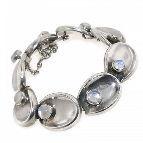 "Antonio Pineda ""Jewels by Antonio"" Taxco Moonstone Silver Bracelet"