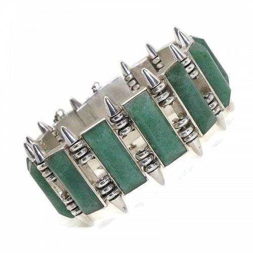 Heavy Vintage Modernist Mexican Aventurine 970 Silver Bracelet