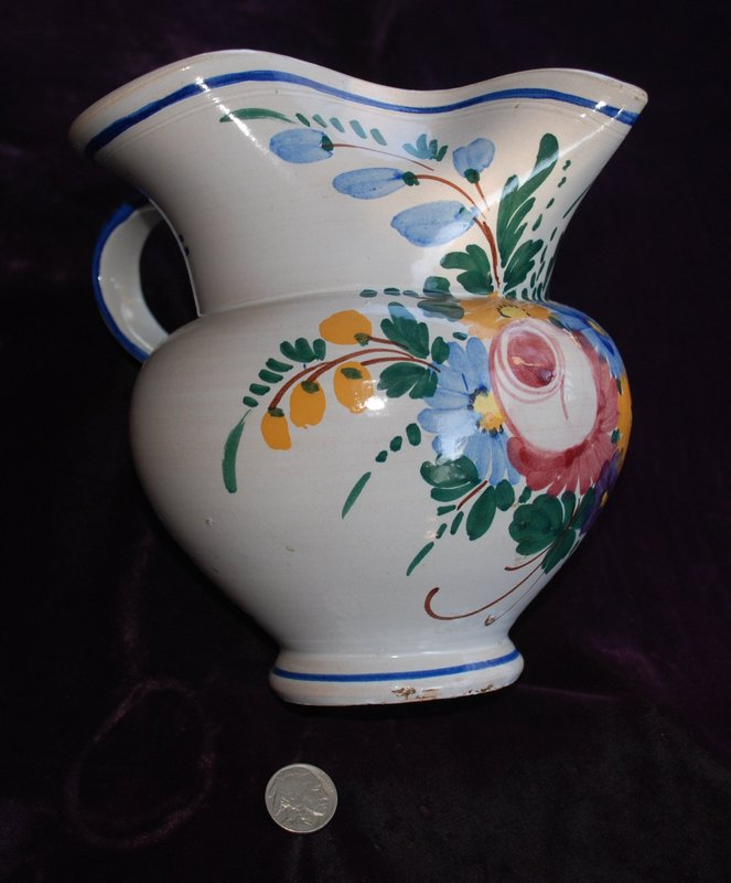 ITALIAN ~ Pitcher with Floral Design ~ 1940's