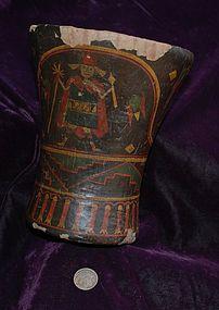 Pre-Columbian ~ INCA / INKA ~ Polychrome Wood KERO