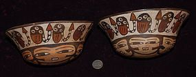 Pre-Columbian ~ NAZCA / NASCA ~ Pair of Twin BOWLS