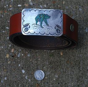 Native American Indian ~ NAVAJO ~ Leather BELT with Buckle