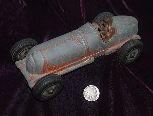 HUBLEY KIDDIE ~ Cast Iron Racing Toy CAR # 5 ~ USA
