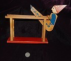 ANTIQUE ~ Gymnast on Parallel Bars ~ Wood TOY ~ 1960's