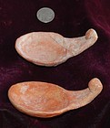 Pre-Columbian ~ MOCHE ~ Pair of Terracotta SPOONS