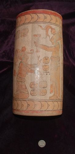 Pre-Columbian ~ MAYAN ~ Tall Painted Anthropomorphic  VASE