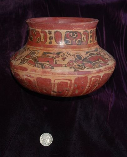 Pre-Columbian ~ MAYAN ~ Polychrome Praying Priests COPADOR Vessel ~ NR