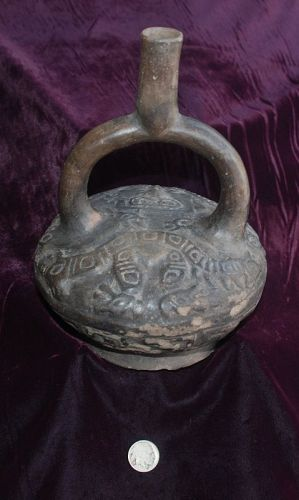 Rare ~ Pre-Columbian MOCHE ~ Blackware Carved STIRRUP Spout Vessel