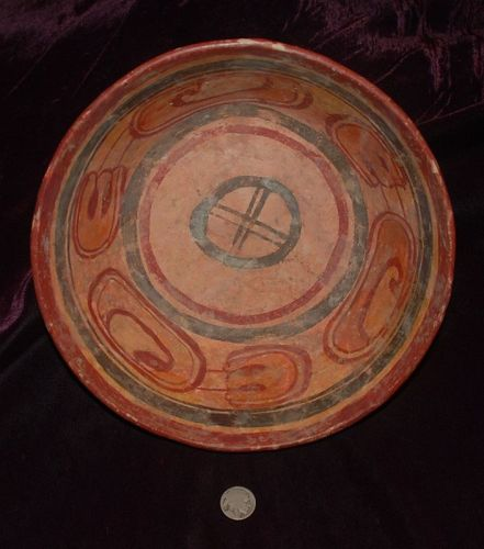 Pre-Columbian ~ MAYAN ~ Polychrome Terracotta Anthropomorphic BOWL