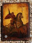 Greek Icon:  ST GEORGE & THE DRAGON ~ Tempera on Wood