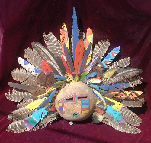 Native American Indian ~ KACHINA ~ Gourd Mask DF 99