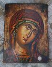 Greek Icon ~ VIRGIN MARY ~ Tempera on Wood Panel ~ 20th Century