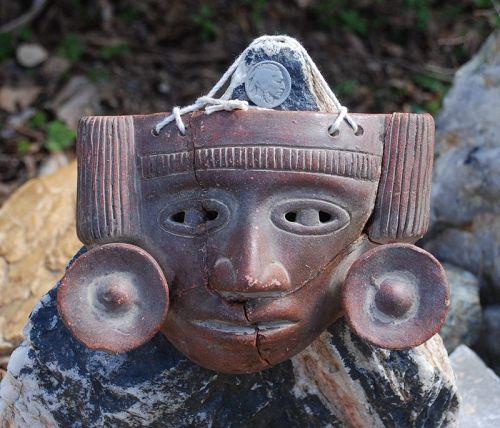 Pre-Columbian ~ Terracotta Anthropomorphic MASK