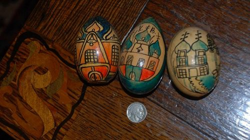 Vintage ~ RUSSIAN Easter Hand-Painted Wood EGGS ~ 1970's