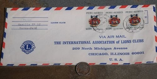 Stamped Envelope from Tarma Lions Club  (Peru) to the Lions Club (USA)
