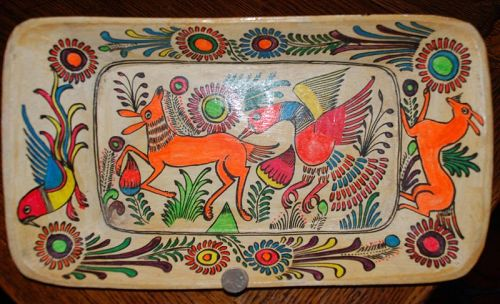 Colorful Mexican Wood ~ TRAY / PLATTER ~ 1950's