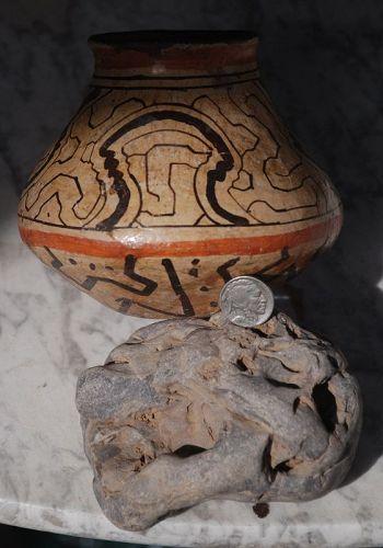 Antique Peruvian Amazon ~ SHIPIBO ~ Terracotta Polychrome VESSEL