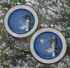 Pair of HANIWA STONE Dinner Plates ~  by RANMARU ~ Japan
