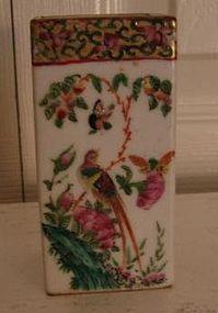 C. 1840 CHINESE EXPORT ROSE CANTON SQUARE BRUSH BOX