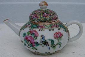 C. 1875 CHINESE EXPORT MINATURE FAMILLE ROSE TEAPOT
