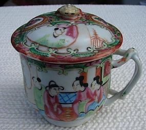 C. 1880 CHINESE EXPORT ROSE MEDALLION RARE SYLLABUB CUP