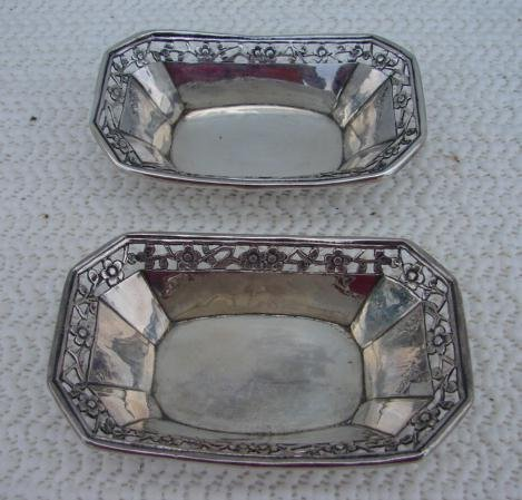 C. 1890 PAR OF CHINESE SILVER SALTS
