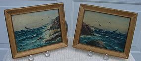 C. 1920 PAIR OF MINATURE SEASCAPE NAUTICAL PAINTINGS
