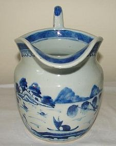 C. 1840 CHINESE EXPORT BLUE CANTON PITCHER