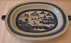 C. 1820 CHINESE EXPORT BLUE CANTON HOT WATER PLATTER