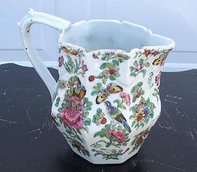 CIRCA 1870 CHINESE EXPORT ROSE CANTON PITCHER 7""