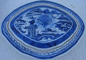 CIRCA 1900 CHINESE EXPORT BLUE CANTON COVERED DISH