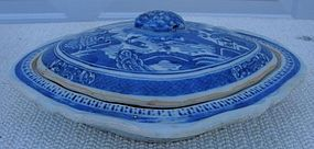 CIRCA 1900 CHINESE EXPORT NANKING COVERED DISH
