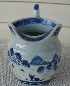 CIRCA 1880 CHINESE EXPORT BLUE CANTON PITCHER