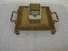 CIRCA 1920 BRASS/CRYSTAL GLASS INKWELL IN STAND