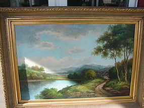 CIRCA 1920 HUGE OIL ON CANVAS LANDSCAPE SCENE