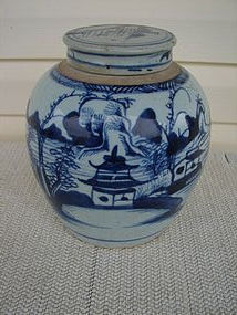 CIRCA 1880 CHINESE EXPORT BLUE/WHITE JAR W/COVER