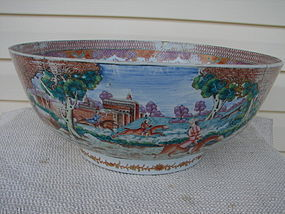 "CIRCA 1770 CHINESE EXPORT FOX HUNT PUNCH BOWL 16"" DIAM."