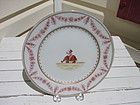20TH CENTURY FAMILLE ROSE MAHOUT PLATE ELEPHANT DESIGN