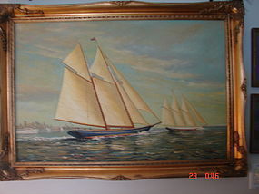 MID 20TH. CENTURY D.TAYLER AMERICAN CLIPPER SHIP