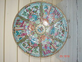 """C. 1840 CHINESE EXPORT ROSE MEDALLION CHARGER,14 3/4"""""""""""