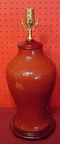 CHINESE EXPORT OXBLOOD VASE MADE INTO LAMP