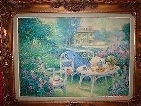 C. 1850 OIL ON BOARD FLOWERS IN GARDEN SCENE WITH HOUSE