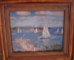 ANTIQUE IMPRESSIONIST  PRINT OF SAILBOATS IN WATER