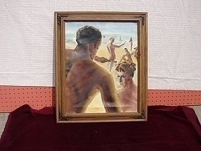 OIL PAINTING ON CANVAS OF NUDE BEACH,RAWDON