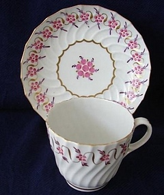 C. 1775 ENGLISH FLUTED CUP AND SAUCER