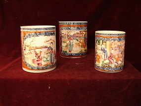 C. 1770 CHINESE EXPORT TRIO OF MANDARIN  MUGS