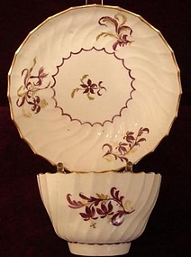 C.1785-1790 FLIGHT WORCESTER TEA BOWL/SAUCER