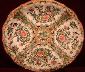 CIRCA 1850 CHINESE EXPORT ROSE CANTON SERVING DISH